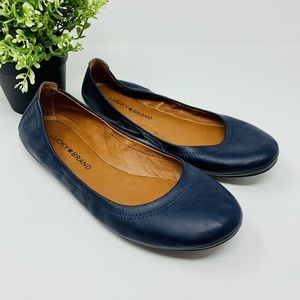 Lucky Brand Emmie Ballet Flats Blue Leather Size 8